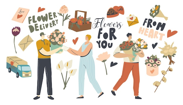Dostawa kwiatów. kurierzy, którzy przynoszą klientom piękne bukiety. miła niespodzianka, gratulacje z okazji świąt. rocznica lub romantyczna randka. ilustracja wektorowa ludzi liniowych