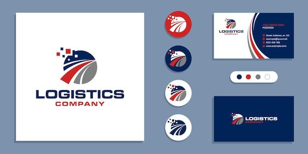 Dostawa logistyczna, logo szybkiej wysyłki i szablon projektu wizytówki