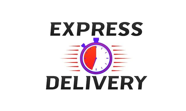 Dostawa logo banner ekspresowa dostawa ikona dla aplikacji i strony internetowej szybka wysyłka z wektorem timera