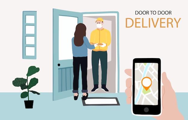 Dostawa od drzwi do drzwi przez internet, usługa zbliżeniowa do domu, biura. człowiek dostawy ostrzega, aby zapobiec koronawirusowi