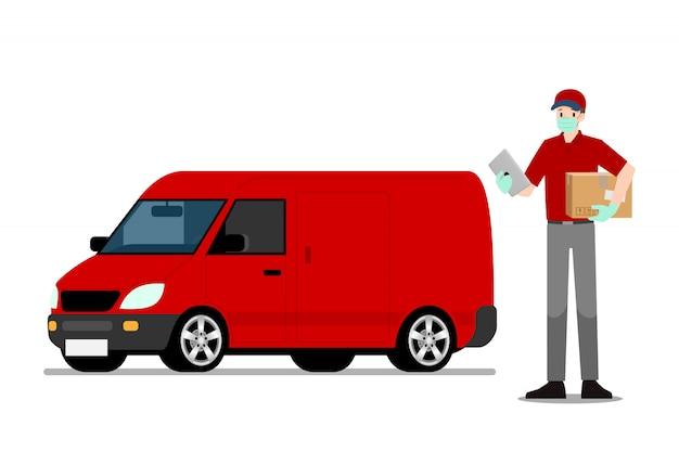 Dostawa online człowiek trzyma inteligentny tablet i paczkę przed furgonetką.