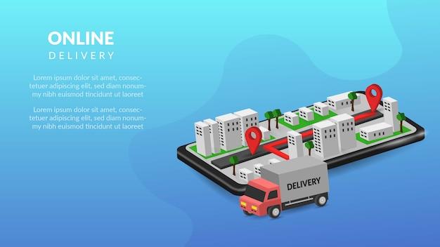Dostawa online na mobilnej ilustracji 3d dla sieci lub aplikacji mobilnej