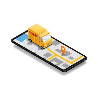 Dostawa online. smartphone z ciężarówką, 3d isometric cyfrowa marketingowa ilustracja