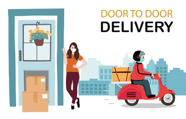 Dostawa online usługa zbliżeniowa do domu, biura motocyklem. człowiek dostawy ostrzega, aby zapobiec koronawirusowi