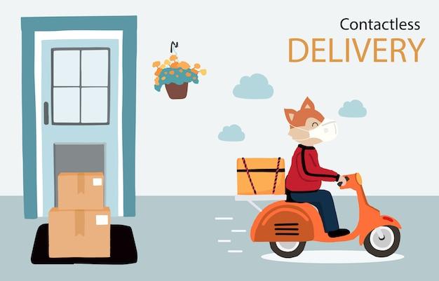Dostawa online usługa zbliżeniowa do domu, biura motocyklem. zwierzę dostawcze jest znakiem ostrzegawczym, aby zapobiec koronawirusowi