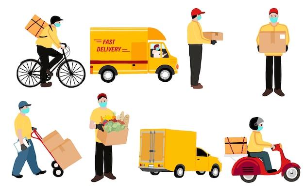 Dostawa online usługa zbliżeniowa do domu, biura rowerem, motocyklem, ciężarówką. człowiek dostawy ostrzega, aby zapobiec koronawirusowi