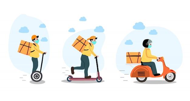 Dostawa online usługa zbliżeniowa do domu, biura rowerem, motocyklem, skuterem. człowiek dostawy ostrzega, aby zapobiec koronawirusowi