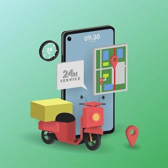 Dostawa online w 3d na urządzenia mobilne dla aplikacji mobilnych lub sieci