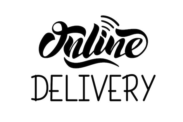 Dostawa online wektor ręcznie napis dla projektów strony internetowej logo wizytówki design for food