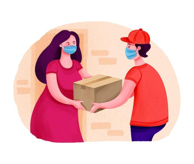 Dostawa paczki do drzwi kobieta odbiera paczkę od kuriera zamów transport