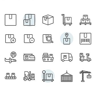 Dostawa paczki i ikona logistyczna oraz symbole ustawione w zarysie
