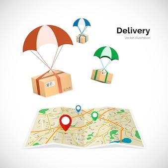 Dostawa. paczki lecą do miejsca docelowego wskazanego na mapie przez wskaźnik. ilustracja