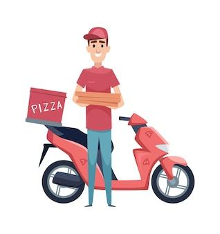 Dostawa pizzy. chłopiec z pudełkami po jedzeniu i skuterem. motocykl na białym tle i płaski mężczyzna wektor znak. pudełkowa pizza, chłopiec z ilustracją dostawy usług motoroweru