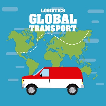 Dostawa pojazdu na tle mapy świata
