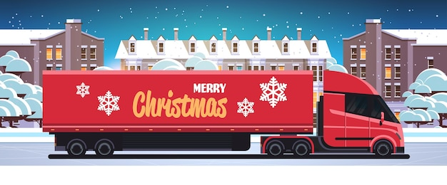 Dostawa pół ciężarówki jazdy miejskiej wysyłka uliczna transport na wesołych świąt szczęśliwego nowego roku ferie zimowe koncepcja uroczystości śnieżny pejzaż w tle płaska