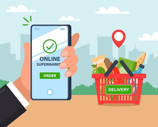 Dostawa produktów online. zamówienie przez telefon. ilustracja.