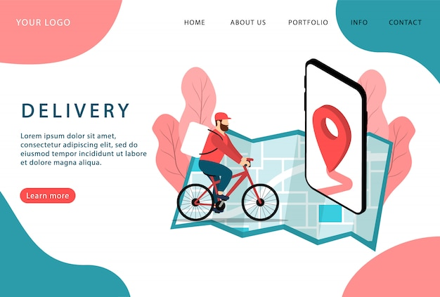 Dostawa. przesyłka ekspresowa. dostarczyciel na rowerze. wstęp. nowoczesne strony internetowe.