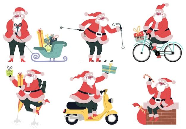 Dostawa świętego mikołaja. ładny charakter świętego mikołaja dostarczanie prezentów świątecznych z rowerem, saniami i motorowerem wektor zestaw ilustracji. dostawa prezentów świątecznych