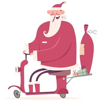 Dostawa świętego mikołaja na ilustracji kreskówka czerwony skuter