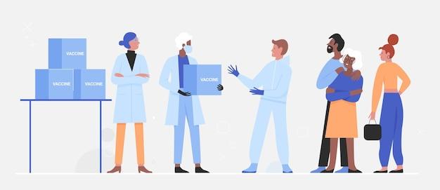 Dostawa szczepionek, pracownicy medyczni w ochronnych opakowaniach dostawczych