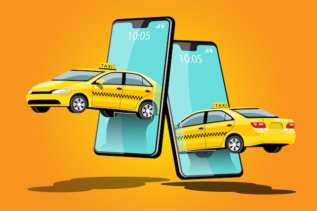 Dostawa taxi udostępnianie samochodu online z postacią z kreskówki i smartfonem koncepcja transportu inteligentnego miasta, ilustracja
