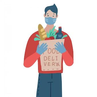 Dostawa towarów podczas zapobiegania koronawirusowi. kurier w masce z zamówieniem w sklepie spożywczym w ręce. ilustracja.