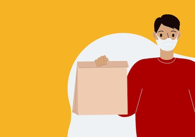 Dostawa towarów podczas zapobiegania wirusowi. kurier w masce na twarz z pudełkiem w rękach. portret od pasa w górę. płaskie ilustracji wektorowych.