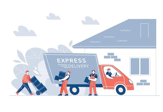 Dostawa towaru ciężarówką do domu. pojęcie szybkiej wysyłki. ładowacze, postacie rozładowują furgonetkę, przenoszą pudła. ilustracji wektorowych.