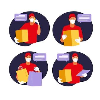 Dostawa towaru podczas profilaktyki koronowirusa covid courier w masce z pudełkiem w dłoniach portret od pasa w górę, ilustracja płaska