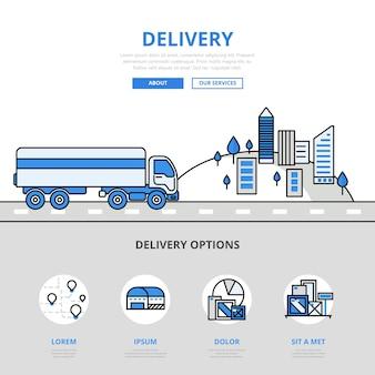 Dostawa transportu drogowego koncepcja stylu płaskiej linii. wydrukowane materiały