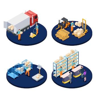 Dostawa w rzucie izometrycznym. logistyka, magazyn dystrybucyjny, koncepcje izometryczne dostawy paczek