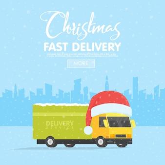 Dostawa wektor transport ciężarowy, van z opakowaniem pudełko.