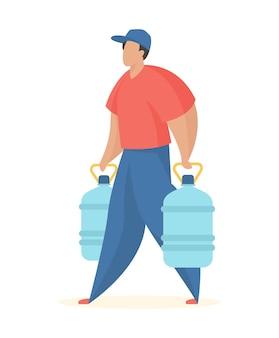 Dostawa wody butelkowanej do klienta pracownik serwisu nosi pełne plastikowe butelki woda mineralna