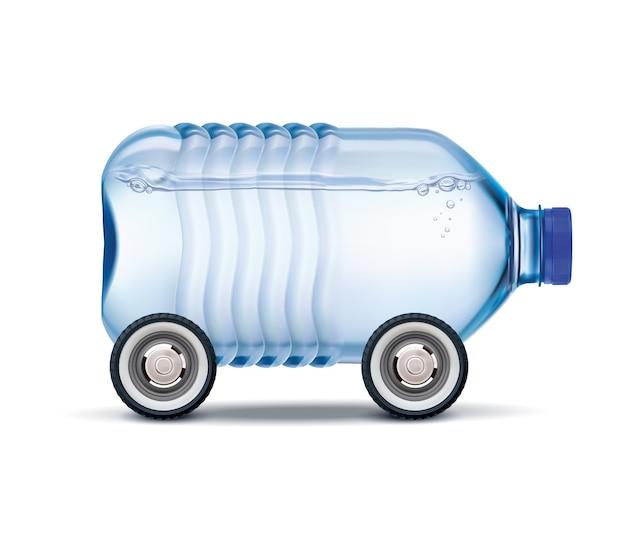 Dostawa wody duża plastikowa butelka wody pitnej na kółkach realistyczna ilustracja