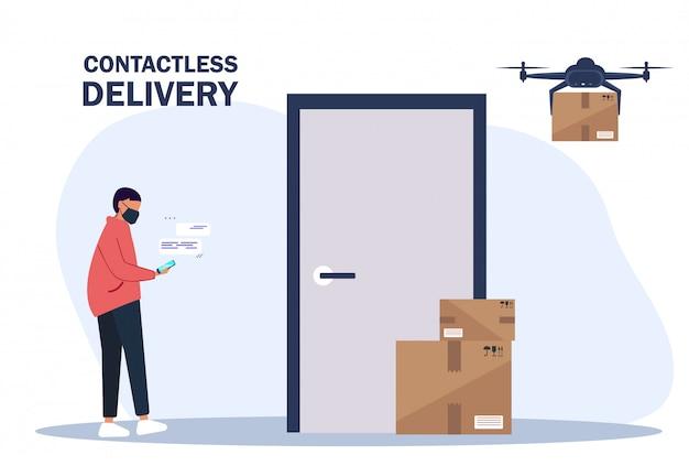 Dostawa zbliżeniowa. dron dostarcza pudełka. dostarcz mężczyzna przynosi pudełka i stawia je w pobliżu drzwi mieszkania. bezkontaktowa usługa ekspresowej dostawy.