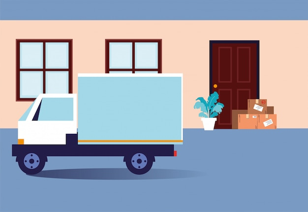 Dostawa zbliżeniowa, pudełka z zakupami stoją u drzwi