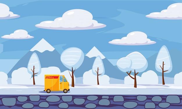 Dostawa, zimowy krajobraz, drzewa na śniegu, ciężarówka, stylu cartoon, ilustracji wektorowych
