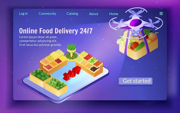 Dostawa żywności przez drone w nocy 24/7 service.