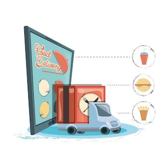 Dostawa żywności z smartphone ikona wektor ilustration
