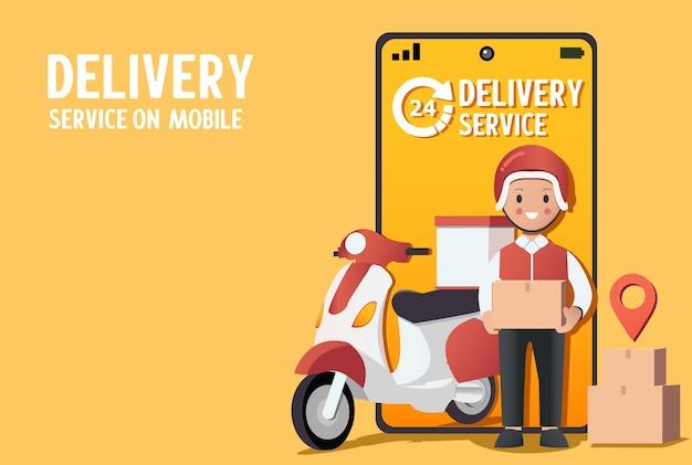 Dostawca dostarcza pudełko. smartfon z aplikacją mobilną