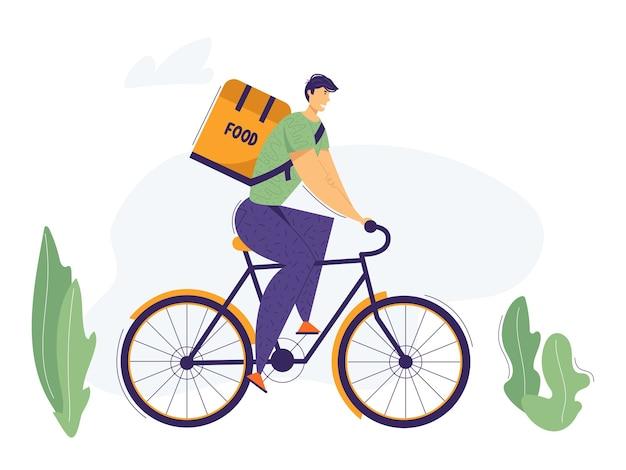 Dostawca jedzie na rowerze z pudełkiem na żywność na plecach. usługa dostarczania rowerów miejskich z pakietem przewożącym postać mężczyzny z restauracji.