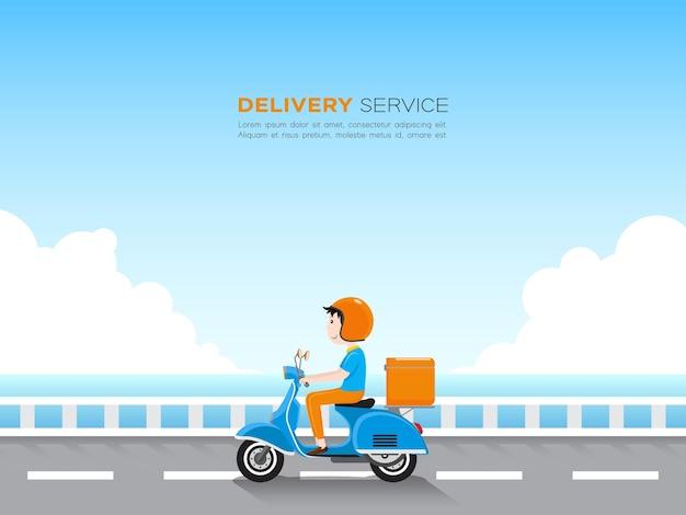 Dostawca jedzie skuterem z pudełkiem na dostawę na drodze nad błękitnym morzem i niebem.