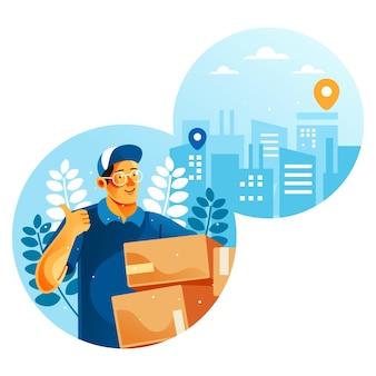 Dostawca jest gotowy do dostarczenia towaru ilustracja