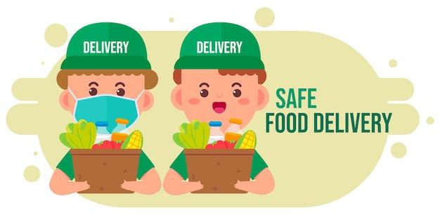 Dostawca niosący pudełko z jedzeniem i napojami spożywczymi ze sklepu ilustracja kreskówka