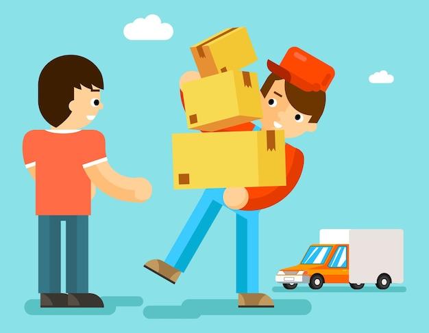 Dostawca z pudełkami i samochodem daje paczkę klientowi. paczka kartonowa, osoba kurierska, listonosz oraz transport ekspresowy.