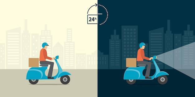 Dostawy człowiek jazdy motocyklem skuter z cały dzień całą noc