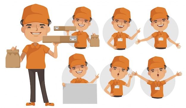 Dostawy człowiek wektor zestaw. deliveryman jednolite pudełko lub produkt. postawa pełnego stania i trzymania lub wskazywania.