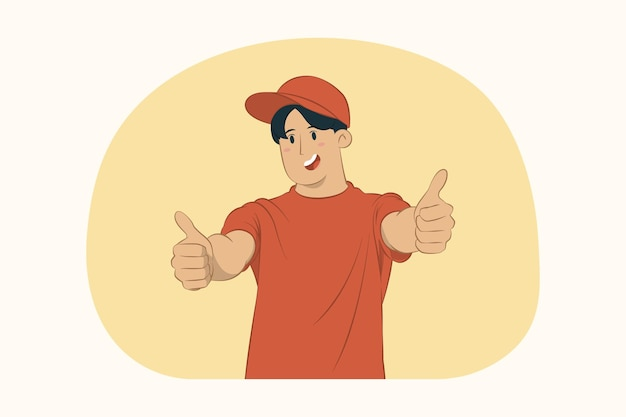 Dostawy młody człowiek pracuje jako dystrybutor kurierski pokazując kciuk do góry koncepcji