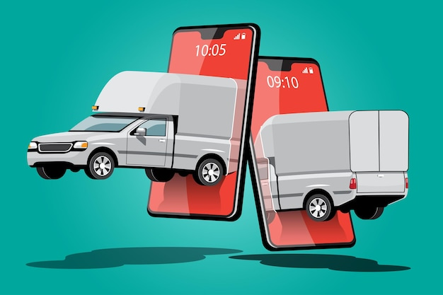 Dostawy samochodów ciężarowych z zamówieniem na aplikacji smartfona, ilustracji