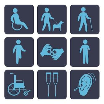 Dostęp dla niepełnosprawnych dziewięć ikon